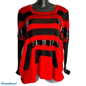 LAURAN VIDAL red and black (with sequins) sweater
